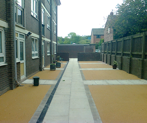 Housing association groundwork and pavement work UK.