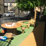 Rosegrove Infant School, Burnley - coloured markings and seating area.