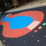 St Agnes Nursery School, Leeds - coloured markings, play area graphic design.