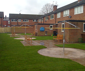 Local authority ground work community area refurbishment UK.