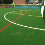 Hockey pitch, sports area, Lancashire UK.