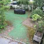 Old artificial grass surfacing.