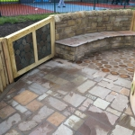Stone seating for children.