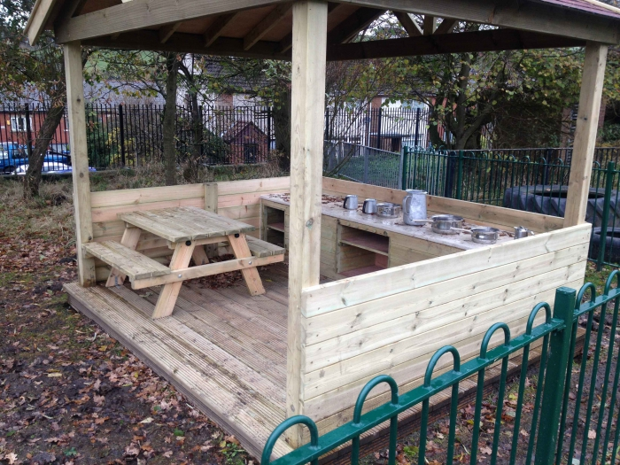 Timber mud kitchen