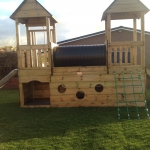 Timber fort play equipment.