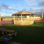 Large timber gazebo stand.