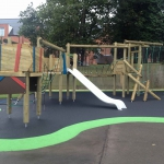 Playground safety surfacing and equipment.
