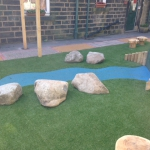 Rockery and artificial grass.